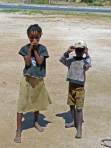 Two kids by the side of the road - Namibia